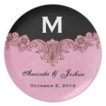 Pink and Black Vintage Monogram Wedding Favor V30 Melamine Plate