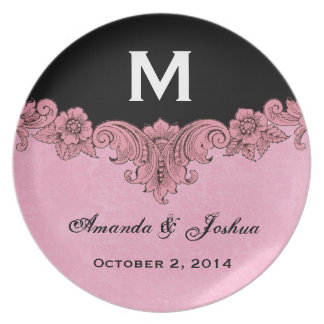 Pink and Black Vintage Monogram Wedding Favor V30 Melamine Plate