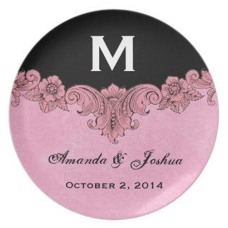 Pink and Black Vintage Monogram Wedding Favor V30 Dinner Plates