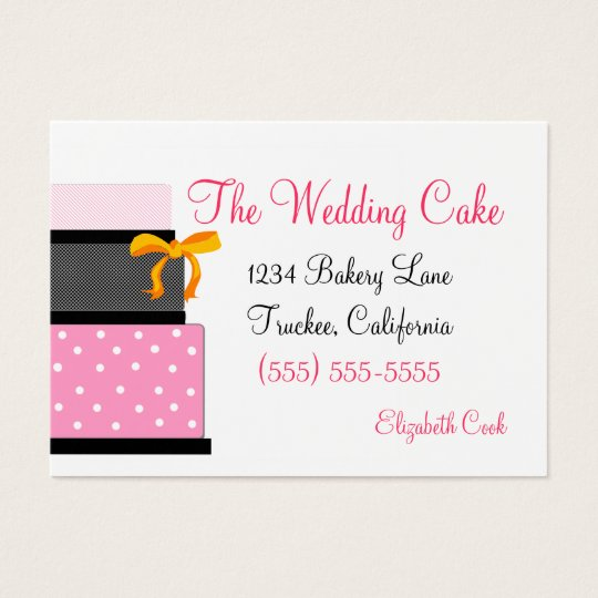 Pink and  Black Wedding Cake Bakery Business Card
