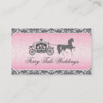Pink And Black Wedding Horse & Carriage Business Card