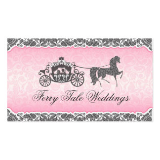 Pink And Black Wedding Horse Carriage Business Card