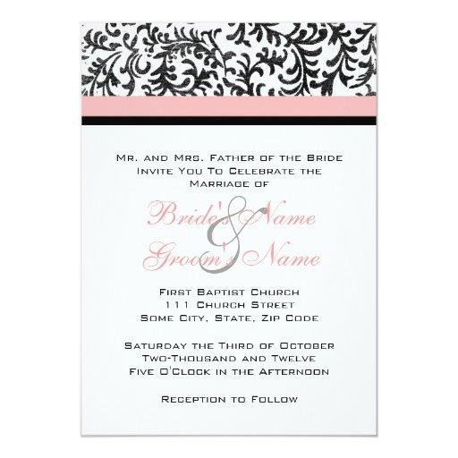 Pink and Black Wedding Invitation