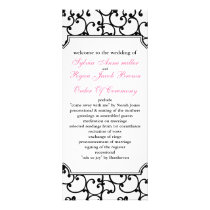pink and black Wedding program
