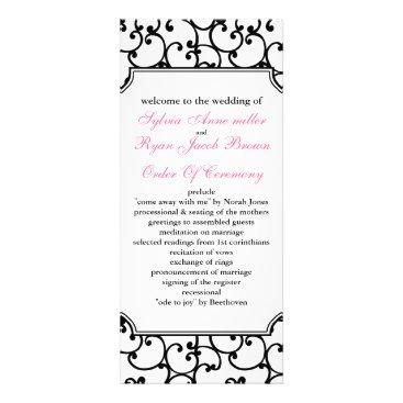 pink and black Wedding program