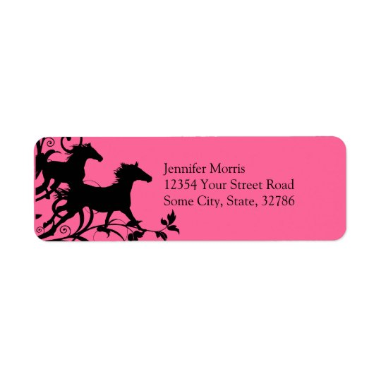 Pink and Black Wild Horses Label