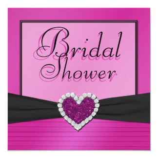 """Pink and Black with Glitter Heart Bridal Shower 5.25"""" Square Invitation Card"""