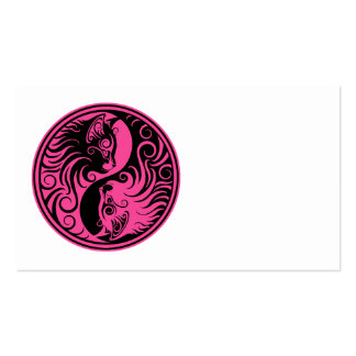 Pink and Black Yin Yang Cats Business Card Templates