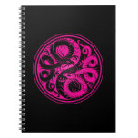 Pink and Black Yin Yang Chinese Dragons Spiral Note Book