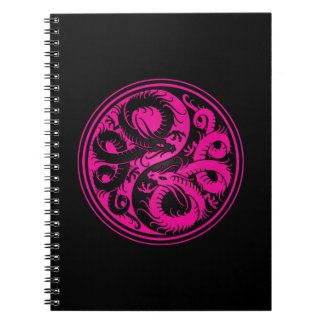 Pink and Black Yin Yang Chinese Dragons Spiral Note Book