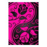 Pink and Black Yin Yang Roses Custom Announcements