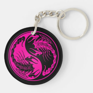 Pink and Black Yin Yang Scorpions Keychains