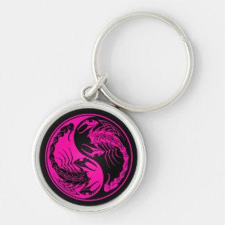 Pink and Black Yin Yang Scorpions Key Chain