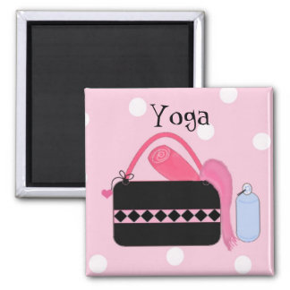Pink and Black Yoga Gear Magnet