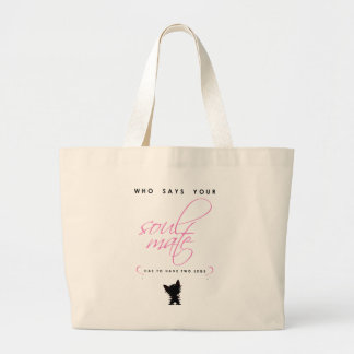 Pink and Black Yorkie Soul Mate Silhouette Pet Large Tote Bag
