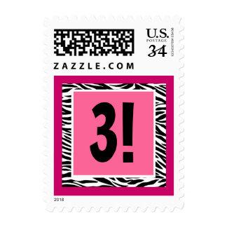 Pink and Black Zebra 3rd Birthday Postage