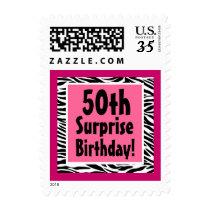 Pink and Black Zebra 50th Surprise Birthday Stamp