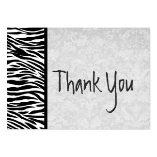 Pink and Black Zebra and Damask Wedding Thank You Large Business Cards (Pack Of 100)