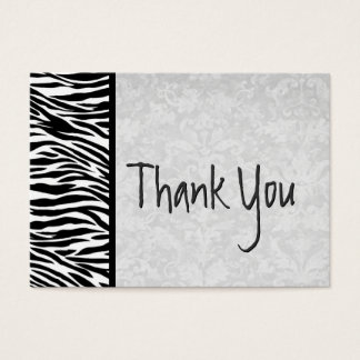Pink and Black Zebra and Damask Wedding Thank You Business Card