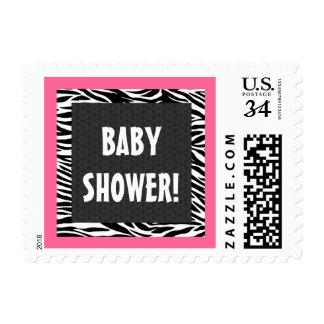 Pink and Black Zebra Baby Shower G203 Postage