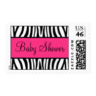 Pink and Black Zebra Baby Shower stamp