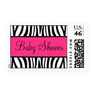 Pink and Black Zebra Baby Shower stamp