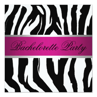 Pink and Black Zebra Bachelorette Party Card