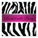 Pink and Black Zebra Bachelorette Party Custom Announcements