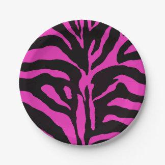 Pink and black zebra background modern fashion paper plate