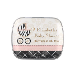 Pink and Black Zebra Carriage Baby Shower Favor Jelly Belly Tin