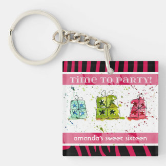 Pink and Black Zebra Celebration Keychain