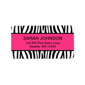 Pink and Black Zebra Custom Address Label