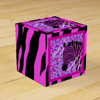 Pink And Black Zebra Date Sweet 16 Birthday Box Party Favor Boxes