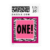Pink and Black Zebra First Birthday Postage