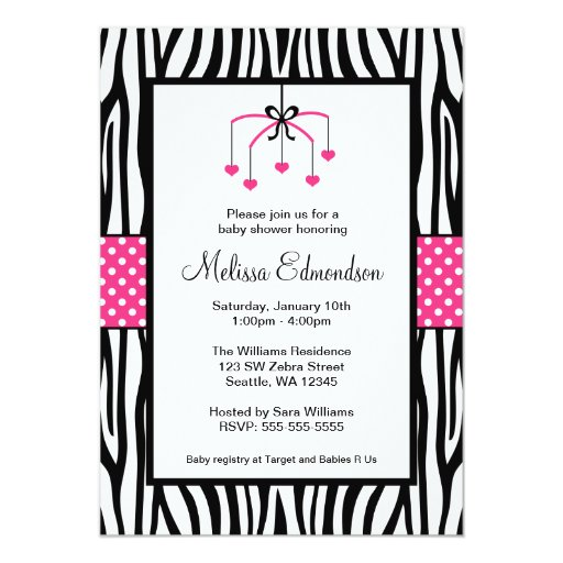 Pink and Black Zebra Heart Mobile Baby Shower 5x7 Paper Invitation Card