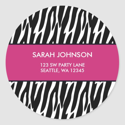 Pink and Black Zebra Pattern Custom Address Label Round Stickers
