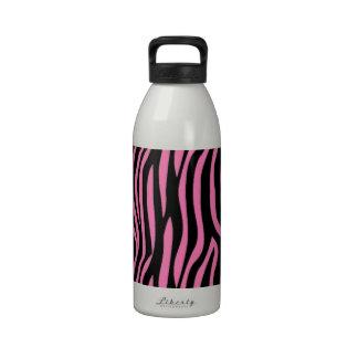 Pink and Black Zebra Pattern Reusable Water Bottle