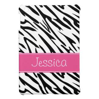 Pink and Black Zebra Pern Personalized iPad Mini Case