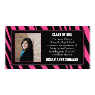 Pink and Black Zebra Photo Graduation Invitation