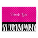Pink and Black Zebra Polka Dot Thank You Card