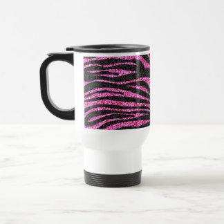 Pink and Black Zebra Print bling (faux glitter) 15 Oz Stainless Steel Travel Mug