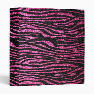 Pink and Black Zebra Print bling (faux glitter) 3 Ring Binder