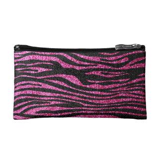 Pink and Black Zebra Print bling (faux glitter) Cosmetics Bags