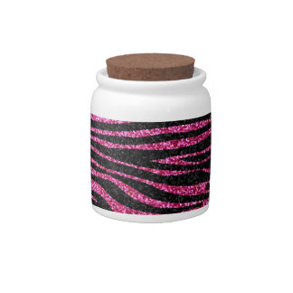 Pink and Black Zebra Print bling (faux glitter) Candy Dish