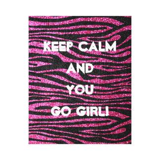 Pink and Black Zebra Print bling (faux glitter) Canvas Print