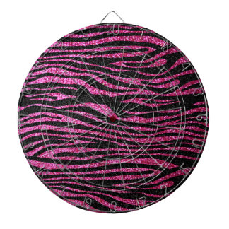Pink and Black Zebra Print bling (faux glitter) Dart Boards