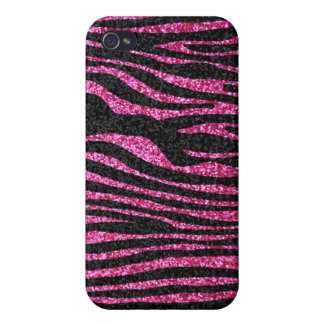 Pink and Black Zebra Print bling (faux glitter) Covers For iPhone 4