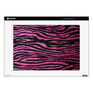 Pink and Black Zebra Print bling (faux glitter) Laptop Skin