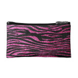 Pink and Black Zebra Print bling (faux glitter) Makeup Bag
