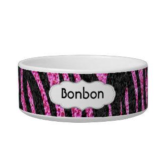 Pink and Black Zebra Print bling (faux glitter) Pet Water Bowls